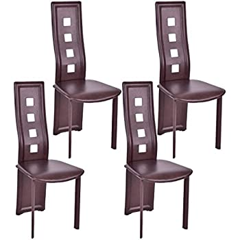 back home furniture. Giantex Set Of 4 Dining Chairs PU Leather Steel Frame High Back Home Furniture (Brown)