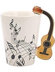 Novelty Guitar Handle Music Mug Unique Art Musical Notes Holds Tea Coffee Milk Ceramic Mug Cup 12 oz Best Gift,Black