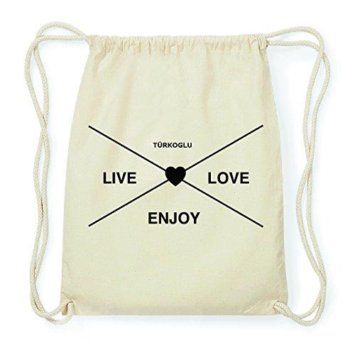 JOllify TÜRKOGLU Hipster Turnbeutel Tasche Rucksack aus Baumwolle - Farbe: natur Design: Hipster Kreuz