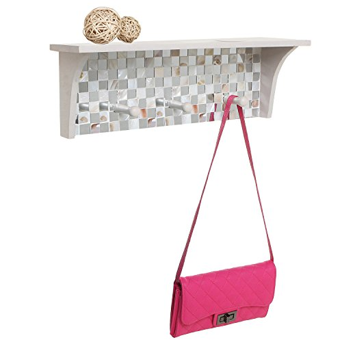Mosaic Tile Design Off-White Wood Floating Organizer Display Rack Shelf w/ 3 Storage Coat Hooks