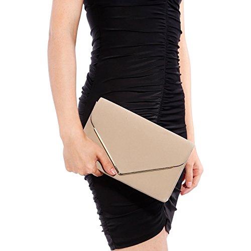 Kunstwildleder Umschlag Damentasche Abendtasche Wildleder Clutch Handtasche Beige SPm1y7kf