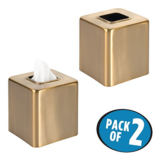 mDesign Square Facial Tissue Box Cover Holder for Bathroom Vanity Counter Tops, Bedroom Dressers, Night Stands, Desks and Tables - Pack of 2, Soft Brass