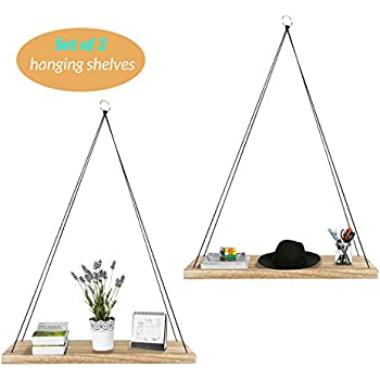 Aibicom Set of 2 Wall Hanging Shelves- Wood Hanging Rope Shelf for Living Room, Bedroom, Kitchen and Entryway, Includes Hardware-17in/5.5in/0.75in