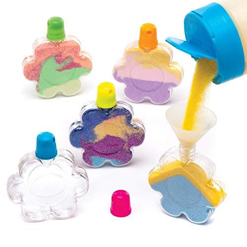 Baker Ross Flower Sand Art Bottles (Pack of 5) Plastic Bottles to Fill with Sand or Glitter - Bottles ONLY