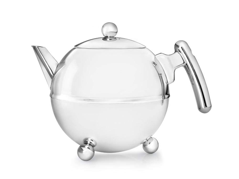 1.2-Liter Stainless Steel Glossy Finish with Chromium Settings 1304CH bredemeijer Bella Ronde Double Walled Teapot