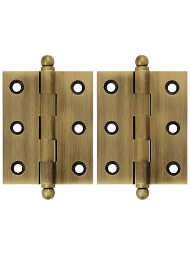 Deltana CH2520U5 Solid Brass 2-1/2-Inch x 2-Inch Cabinet Hinge with Ball (Solid Brass 2in Ball)