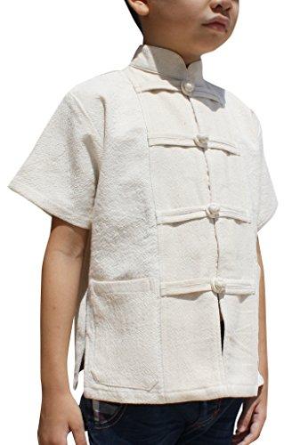 RaanPahMuang Childrens Formal Chinese Collar Short Sleeve Shirt Mixed Soft Cottons, 3-6 Years, Muang Cotton - Cream -