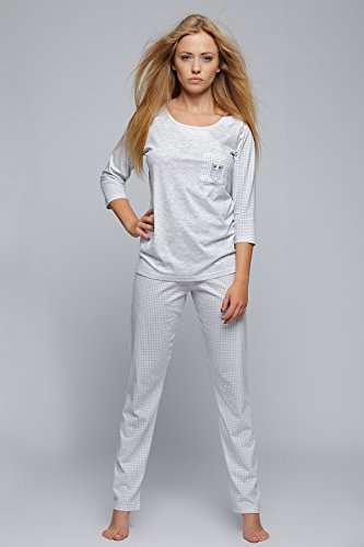 Sensis - Pijama - Cuadrados - manga 3/4 - para mujer Grau/Kariert