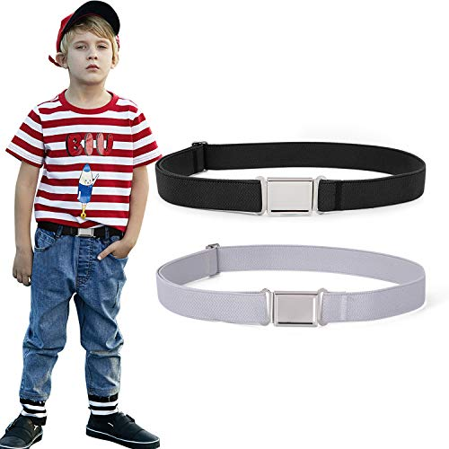 2 Pack Kids Adjustable Magnetic Belt Boys Girls Elastic Belt with Easy Magnetic Buckle By XZQQTIVE (3.Black+Gray, one size)