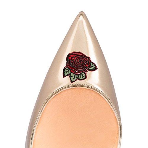 A Punta Stampa 4 Punta Tacchi Alti Stiletti 15 Rosa Vestito Champagne Dimensioni Pompe Di Di Scarpe Fsj Multicolore IYXXn6