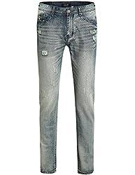 SSLR Men's Relaxed Straight Leg Jeans (29, Blue)