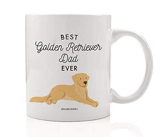 Best Golden Retriever Dad Ever Coffee Mug Gift Idea Daddy Father Papa Favorite Gold Retriever Family House Pet Rescue Dog Adoption 11oz Ceramic Tea Cup Christmas Birthday Present by Digibuddha DM0503