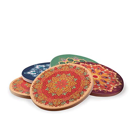 Four Seasons Ceramic Drink Coasters (Set of 4). Absorbent stone coasters with cork bottom. Exclusively designed mandala patterns by Enliven Home. ()