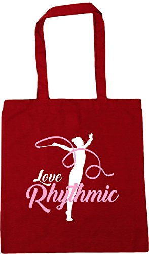 Bag Red x38cm Gymnastics Shopping Tote Classic Rhythmic Love Gym 10 litres 42cm Beach HippoWarehouse Oqfwg0COx