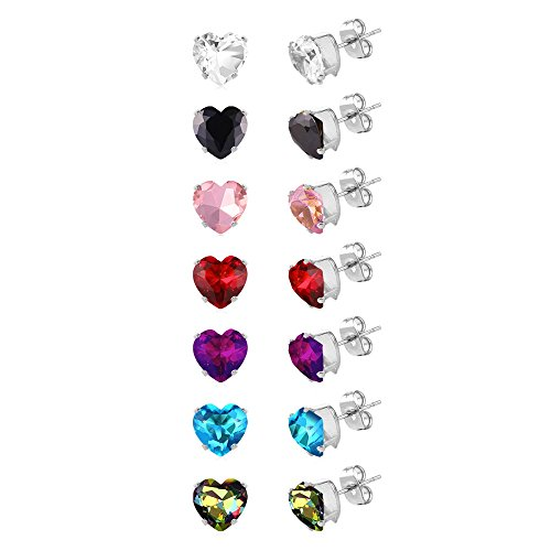 U7 Womens Stainless Steel Stud Earrings Set Heart Shaped Hypoallergenic Pierced Cubic Zirconia 8mm 7 (Pierced Heart)