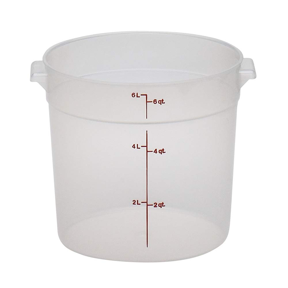 Cambro RFS6PP190 Camwear 6-Quart Round Food Storage Container, Polypropylene, Translucent, NSF