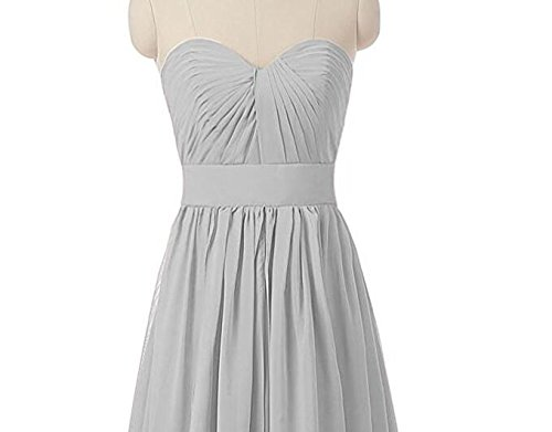 Bridesmaid the Sweetheart Long Prom Chiffon Gown Grey Botong Shoulder Dresses Grey Off 1qET5Xw