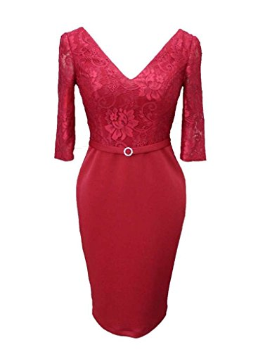 Sleeves Prom Cocktail Dress Dress Women's Burgundy e Neck Dress Color V lace Harf ZTwHHB