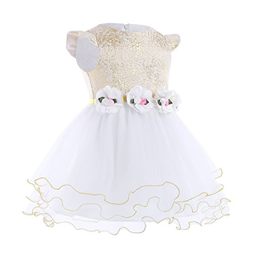Flower Flower Baby Party Glitter Dress Birthday Christening TiaoBug Wedding Gown Gold 3D Baptism Girls qgw7Btf