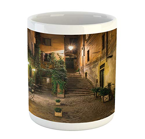 Ambesonne Italian Mug, Old Courtyard Rome Italy Cafe Chairs City Historic Houses in Street, Printed Ceramic Coffee Mug Water Tea Drinks Cup, Pale Yellow Green Orange