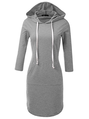 JayJay Casual Active V-Neck Pullover Lightweight Jersey Long Sleeve Hoodie Midi Dress with Kangaroo Pocket,HeatherGray,L