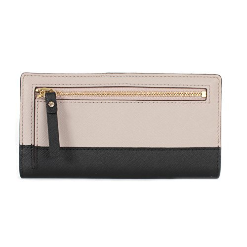 Kate Spade New York Laurel Way Stacy Saffiano Leather Wallet (Mousse Frosting / Black)