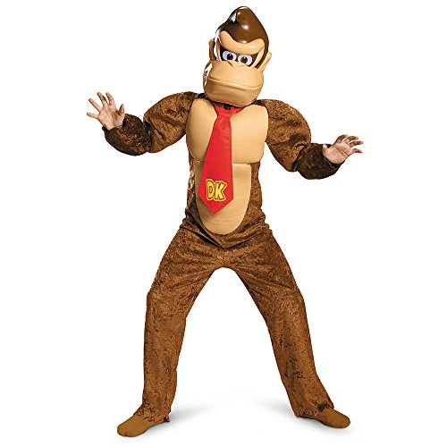 Disguise Donkey Kong Deluxe Super Mario Bros. Nintendo Costume, Large/10-12 (Monkey Halloween Costumes)