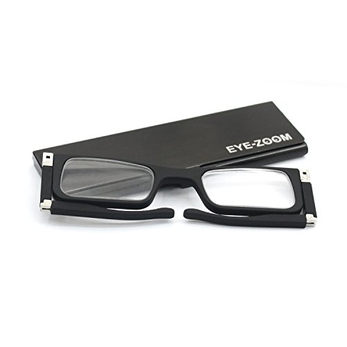 Eyezoom Clip Reading Glasses Black Aluminum Pod Case, Classic Collection, Black Frame, Men and Women +1.50 Strength,