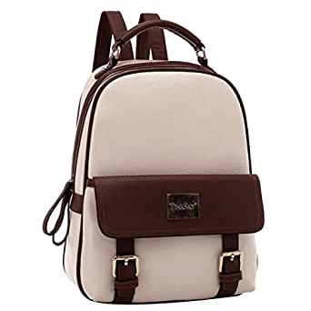 Tinksky® New Arrival Korean Fashion Bag Vintage Backpack College Students Schoolbag (Beige)