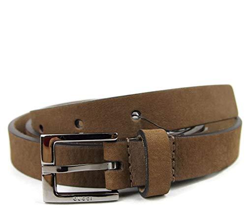 Gucci Men's Brown Suede Square Metal Buckle Belt 334503 2814 (95/38)