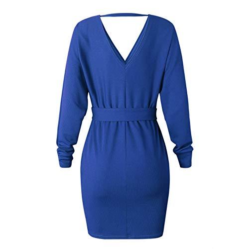 Royal Crayon Elgant Manche Robe Robe Femme Bleu V Tricot avec ASSKDAN Longue Pull Col Ceinture Crois PqZ58pw