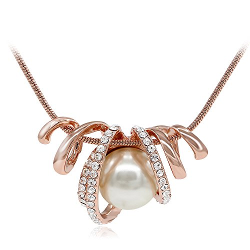 Necklace Gold Snake Rose - Kemstone Snake Shaped Rose Gold Metal Cream Pearl Necklace Jewelry for Women, 17