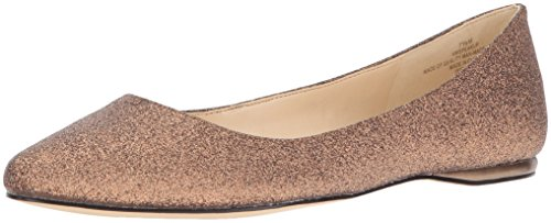 (Nine West Women's Speakup Metallic Pointed Toe Flat, Dark Bronze, 6.5 M US)