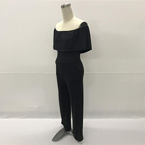 Longra ♣Mujeres Casual fuera del hombro Cocktail Party / Evening Jumpsuit(M--XXXL) Negro