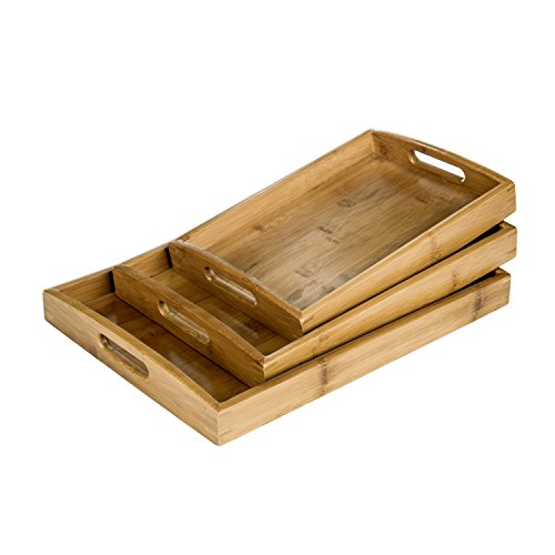 Set of 3 Natural Bamboo Rectangular Nesting Breakfast, Coffee Table / Butler Serving Trays, (Brown Natural Coffee Table)