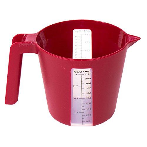 Rojo plástico 1 litro jarra medidora - Dual Sistema Métrico e ...