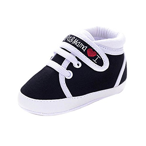 BOBORA Ninos Bebe Te Amo a Papa/Mama Impreso Cuna Casual Zapatos Lona Zapatillas 3 Colores Negro