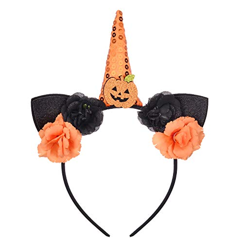 Lux Accessories Xmas Christmas Holiday Black Wire Cat Ears Unicorn Black Orange Floral Pumpkin Headband