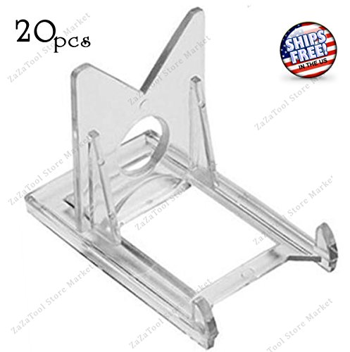 ZaZaTool - Box 20 - 2 Piece Baseball Trading Card Holder Adjustable Clear Display Stands (Chicago White Sox Silver Coin)