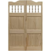 """Pinecroft 848642 Carson City Café Interior Swing Wood Door, 36"""" x 42"""", Unfinished"""