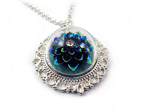 Rainbow Blue Black Dahlia Flower Pendant Glass Dome Silver Necklace 20 in Fairy Tale Wedding Jewelry