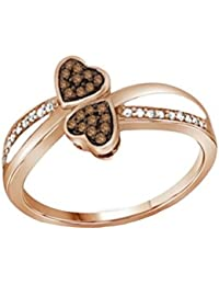 10K Rose Gold Brandy Diamond Chocolate Brown Double My Love Heart Promise Ring 1/10 Ctw.