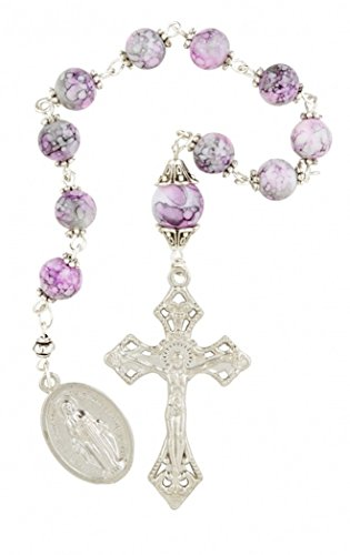Pink Capped Prayer Bead Hand Held Pocket Rosary with Miraculous Medal, 9 1/2 Inch -
