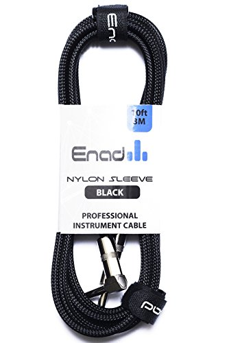 "Enad Braided Nylon Instrument Cable - 10 Foot Black 1/4"" Straight to Right Angle Plug"