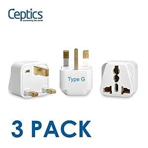 Ceptics UK, Hong Kong, Ireland, UAE Travel Plug Adapter (Type G) - 3 Pack [Grounded & Universal] (GP-7-3PK)
