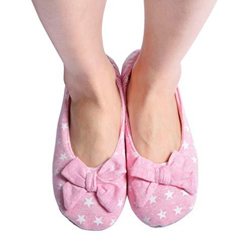 Panda Bros Women's Ballerina House Slippers,Anti-Skid Comfy Warm Ballet Style Slippers