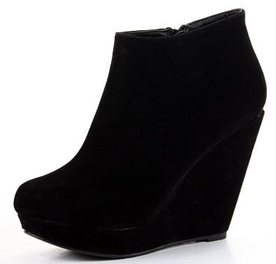womens black suede high heel wedges shoes paltform