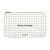 Sharp Everyday White Blue Polka Dot 8 x 4 Inch Washable Paper Pencil Case Pouch
