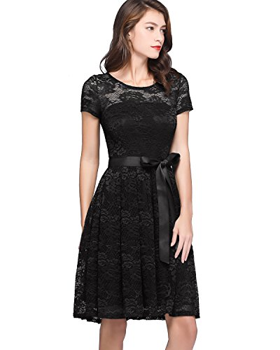 Bridesmay Women's Sheer Neck Floral Lace Short Bridesmaid Dresses with Sleeves Black 2XL