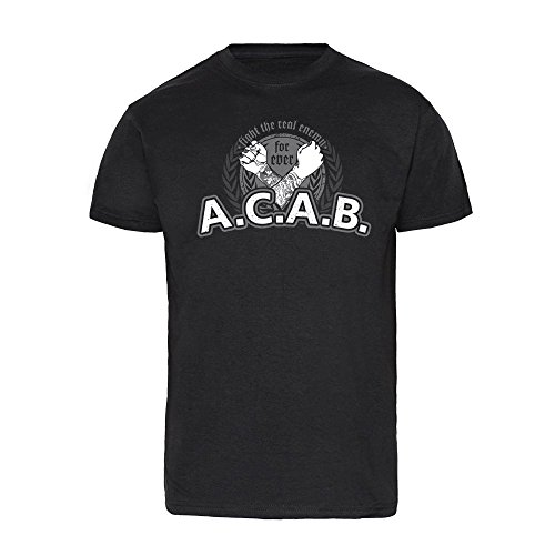 """A.C.A.B """"Fight the real enemy"""" T-Shirt (L)"""